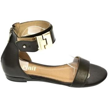 46c71bd06d0b7 Topánky Ženy Sandále Carinii DÁMSKE KOŽENÉ NÍZKE ČIERNE SANDÁLE B2156 čierna