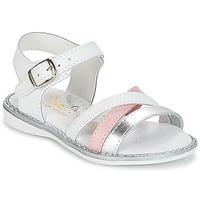 Topánky Dievčatá Sandále Citrouille et Compagnie IZOEGL Biela / Strieborná / Ružová