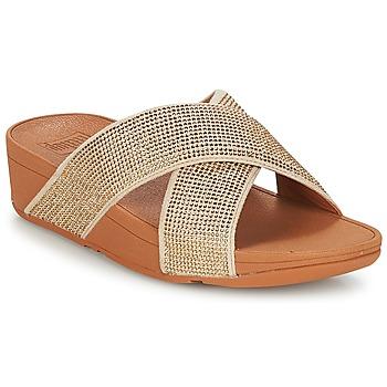 Topánky Ženy Šľapky FitFlop CRYSTAL II SLIDE SANDALS Zlatá