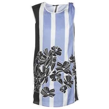 Oblečenie Ženy Krátke šaty Sisley LAPOLLA Modrá / Biela / Čierna