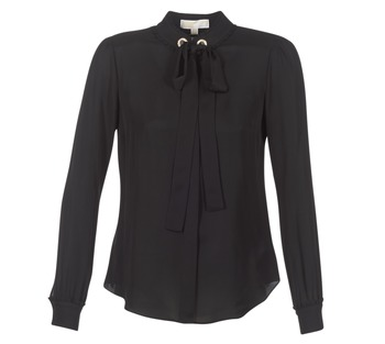 Oblečenie Ženy Blúzky MICHAEL Michael Kors GROMMET NK TIE BLSE Čierna