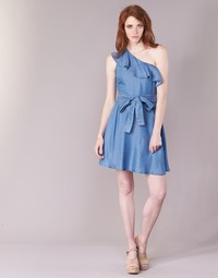 Oblečenie Ženy Krátke šaty MICHAEL Michael Kors ONE SHLDR RUFFLE DRS Denim