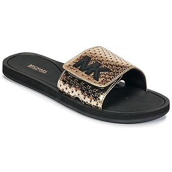 Topánky Ženy športové šľapky MICHAEL Michael Kors MK SLIDE Čierna / Zlatá