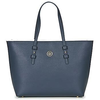 Tašky Ženy Veľké nákupné tašky  Tommy Hilfiger TH SIGNATURE STRAP TOTE Námornícka modrá / Biela / Červená