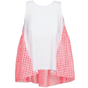 Oblečenie Ženy Tielka a tričká bez rukávov Manoush AJOURE CARRE Biela / Ružová