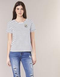 Oblečenie Ženy Tričká s krátkym rukávom Betty London INNAMOU Biela / Námornícka modrá