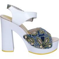 Topánky Ženy Sandále Suky Brand sandali bianco tessuto blu vernice AC487 Bianco
