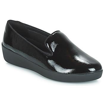 Topánky Ženy Mokasíny FitFlop AUDREY SMOKING SLIPPERS CRINKLE PATENT Čierna