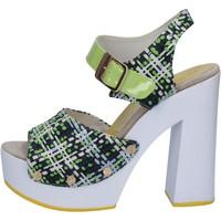 Topánky Ženy Sandále Suky Brand sandali verde tessuto vernice AB309 Verde