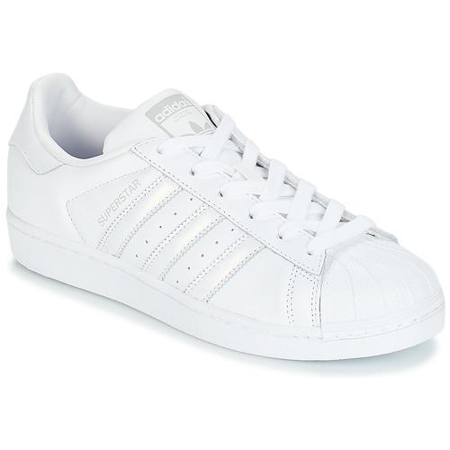 Topánky Ženy Nízke tenisky adidas Originals SUPERSTAR W Biela   Strieborná b5f50780efe