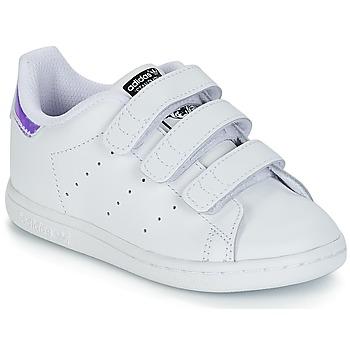 Topánky Dievčatá Nízke tenisky adidas Originals STAN SMITH CF I Biela    Strieborná 2cbe562f898
