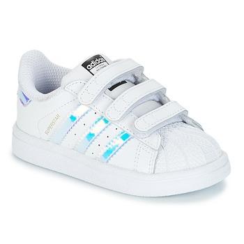 Topánky Dievčatá Nízke tenisky adidas Originals SUPERSTAR CF I Biela / Strieborná