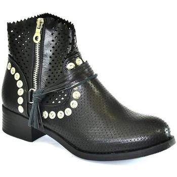 Topánky Ženy Čižmy do mesta John-C Dámske čierne členkové čižmy DINIS čierna