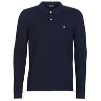 Oblečenie Muži Polokošele s dlhým rukávom Benetton MAZARRI Námornícka modrá