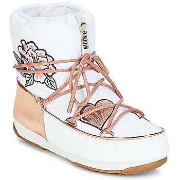 Topánky Ženy Snehule  Moon Boot PEACE & LOVE WP Biela / Ružová / Zlatá