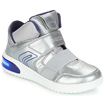 Topánky Dievčatá Členkové tenisky Geox J XLED GIRL Strieborná