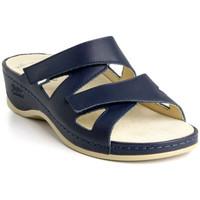 Topánky Ženy Šľapky Batz Dámske kožené modré šľapky EVELIN tmavomodrá