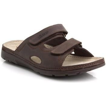 Topánky Muži Šľapky Batz Pánske kožené hnedé šľapky MIKE hnedá