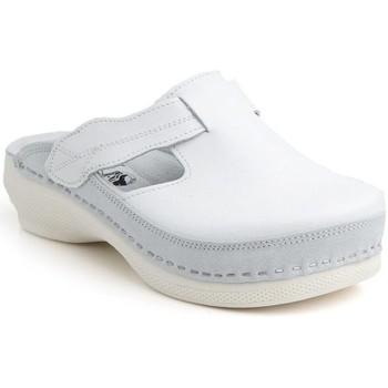 Topánky Ženy Šľapky Batz Dámske kožené biele šľapky FLOWER biela