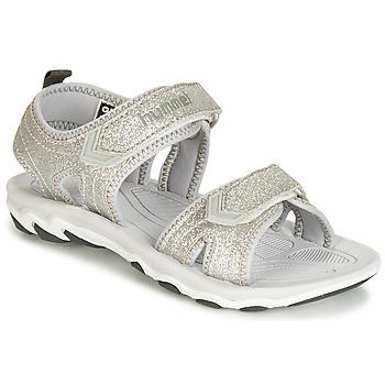 Topánky Dievčatá Sandále Hummel SANDAL GLITTER JR Strieborná
