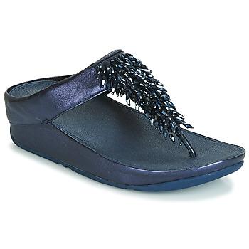 Topánky Ženy Žabky FitFlop RUMBA TOE THONG SANDALS Modrá